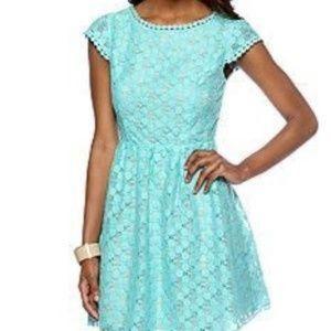 Kensie Turquoise Medium Lace Cap Sleeve Dress